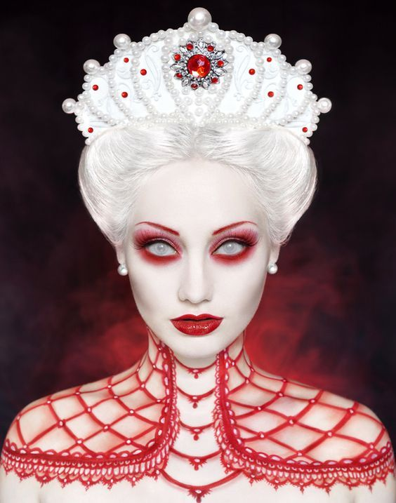 Bizarre Queen Halloween Makeover accompanied with #white out #contact #lenses