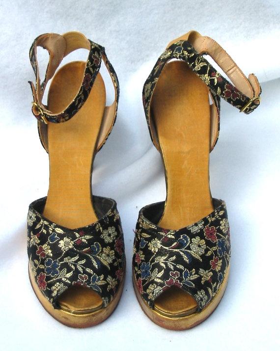 1940's Vintage Brocade Platform Shoes Size 6N by MyVintageHatShop, $199.00
