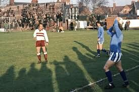 Banbury Utd 0 Northampton 0 in Nov 1973 at Spencer Stadium. Action as Banbury take a throw in the FA Cup 1st Round.