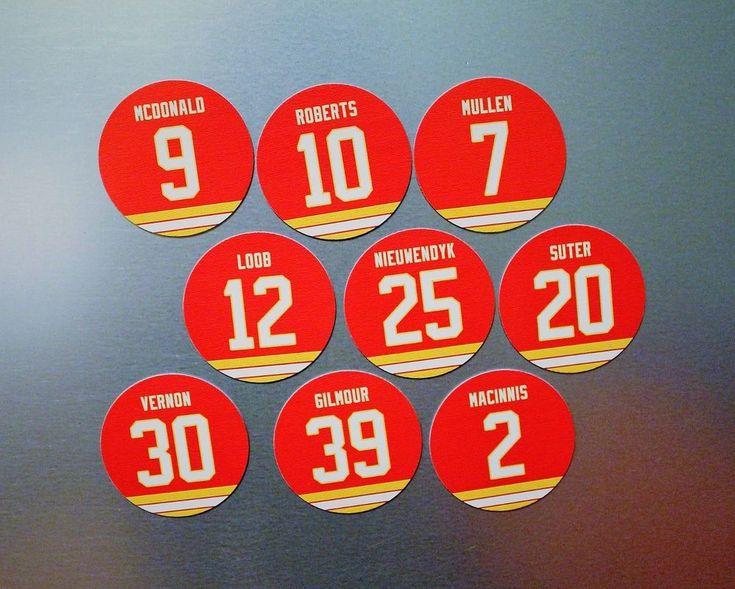 Calgary Flames 9 Magnet Set 1989 Cup Team: Vernon, MacInnis, Roberts, McDonald #CalgaryFlames