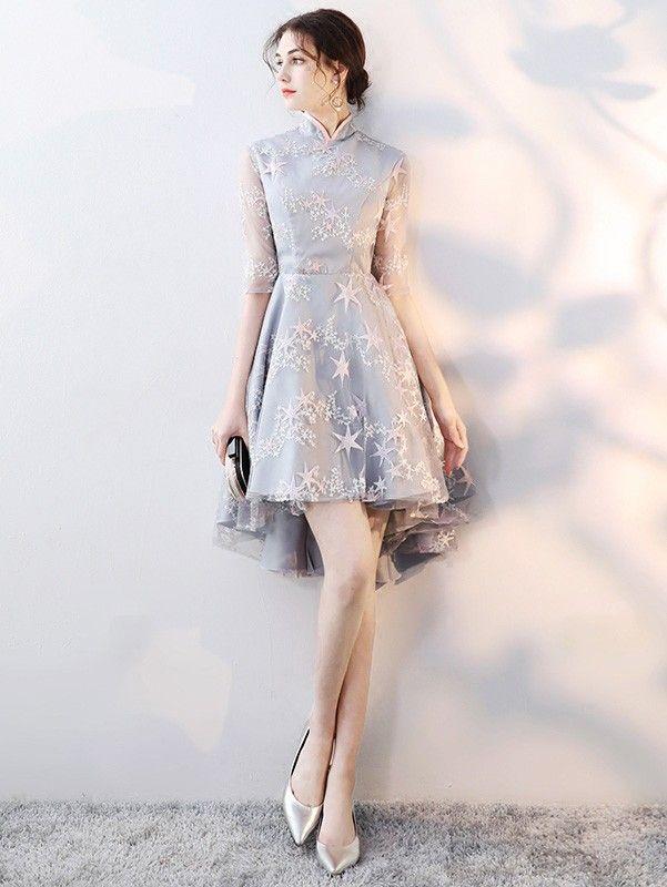 Embroidered Star Qipao / Cheongsam Dress with High Low Hem
