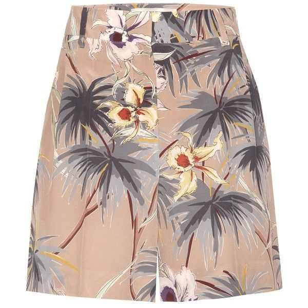 Valentino mytheresa.com Online Exclusive Printed Silk Shorts (51,090 PHP) ❤ liked on Polyvore featuring shorts, multicoloured, colorful shorts, multi colored shorts and silk shorts