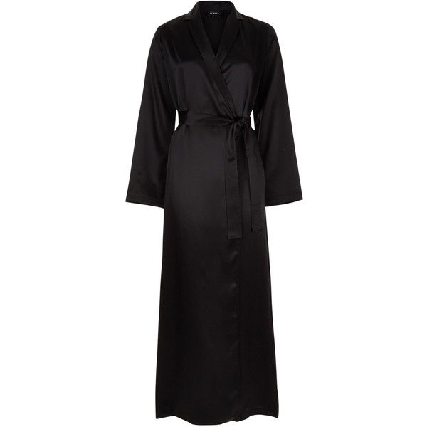 La Perla Silk Long Robe (1060 TND) ❤ liked on Polyvore featuring intimates, robes, black, long silk robe, long dressing gowns, silk dressing gown, silk bathrobe and long bath robe
