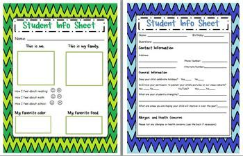 Use these Back to School Student Information Sheets to get general student information from students and parents.  This set includes one page for the student to share about his/her self and one page for parents to give you a quick reference of basic student information (allergies, web permission, address, phone numbers, strengths and weaknessess, etc)