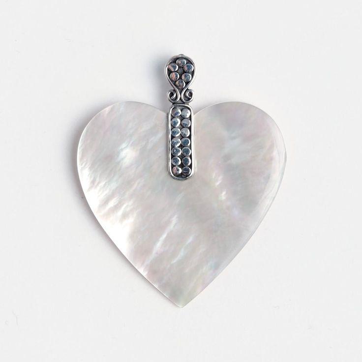 Pandantiv inimioară Valentine, argint și sidef, Indonezia