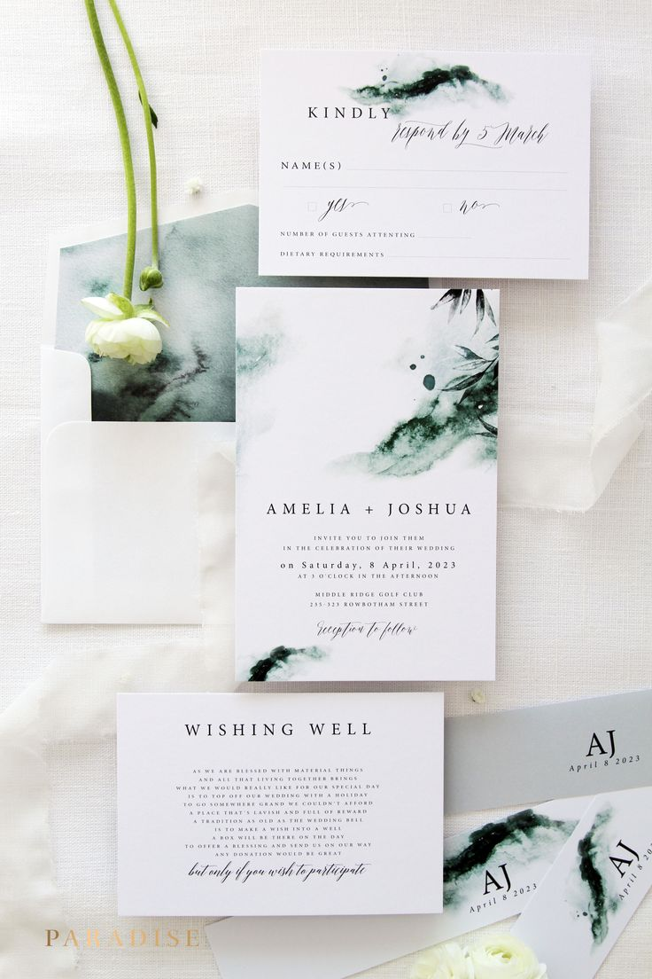 Joselyn Watercolour Wedding Invitation Set, Invitation Kit, Elegant Wedding, Belly Bands Invitations Wedding Stationery Printable or Printed