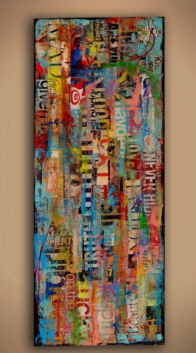 Peinture technique mixte sur bois par erinashleyart sur Etsy
