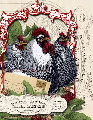 Feathers & Flight ~Jill Marcott-McCall~Mixed Media & Digital Artist: French Hens & Rooster Tutorial with the Graphics Fairy