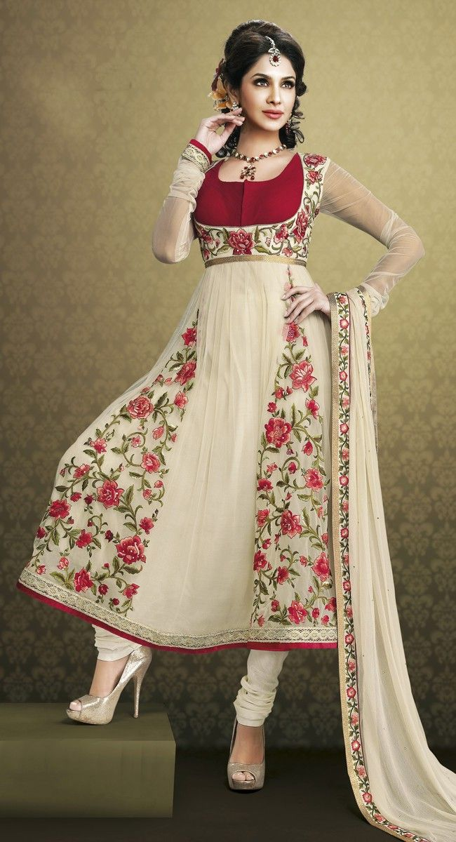 Exquisite Pink & White Salwar Kameez