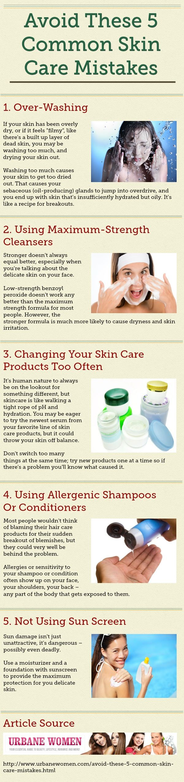 Skincare Mistakes-- As soon as I stopped using a harsh cleanser from Philosophy, and stuck to a routine of just using a gentle daily cleanser, I saw a big improvement in the number of breakouts I got, (decreasing). Worth a try.