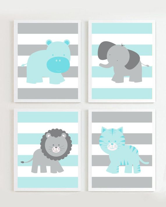 Nursery Grey and Teal set of 4 Safari more colors available via Etsy