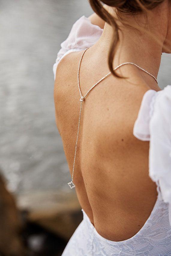 Delicate and elegant bridal Backdrop Necklace Back drop