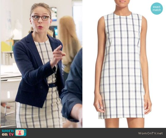 Kara's white checked dress on Supergirl.  Outfit Details: https://wornontv.net/67143/ #Supergirl