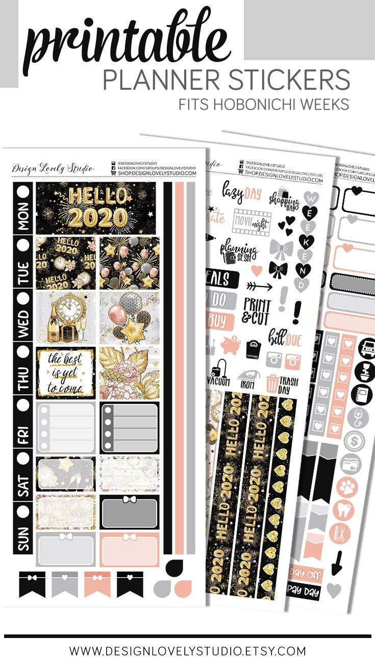 Printable New Year Planner Stickers Kit Hobonichi Weeks Planner Stickers January Printable Planner Stickers Happy Planner Printable Stickers Planner Stickers