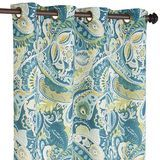"Vibrant Paisley Grommet Top Teal 84"" Curtain"