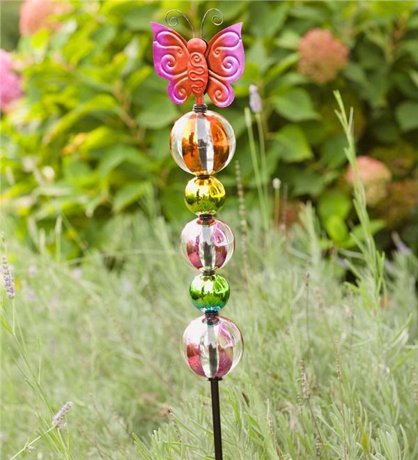 Main image for Glass Butterfly and Ball Garden Stake