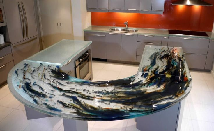How To Make Concrete Countertops Look Like Granite | Curved Stunningly  Coloured Countertop1