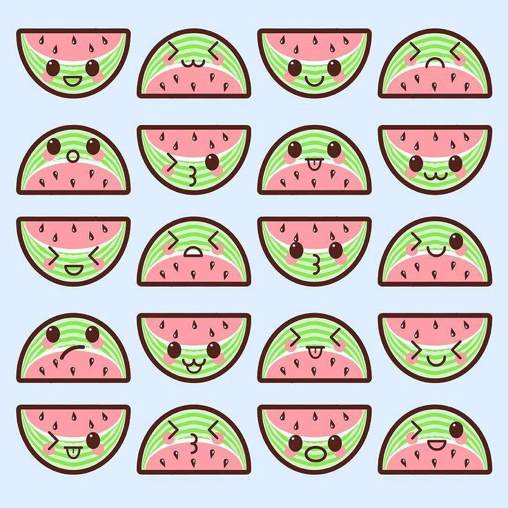 Kawaii Watermelons - #kawaii #cute #watermelon #anime #art #pastel #illustration #graphicdesign #adorable #cartoon #fruit