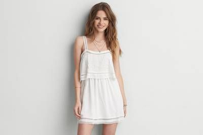 AEO Lace Overlay Dress  by  American Eagle Outfitters | For the free spirit, a touch of lace. This easy dress goes with the flow.  Shop the AEO Lace…