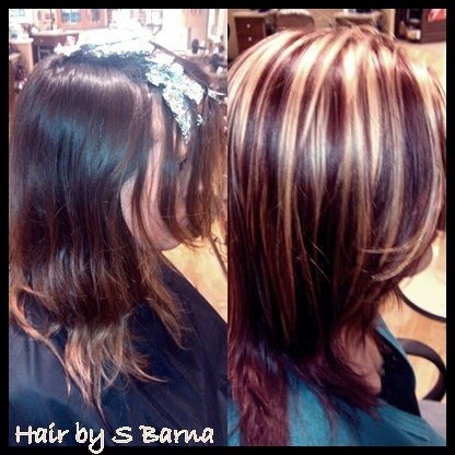 Hair by barna..after is bright blonde highlights with high ...