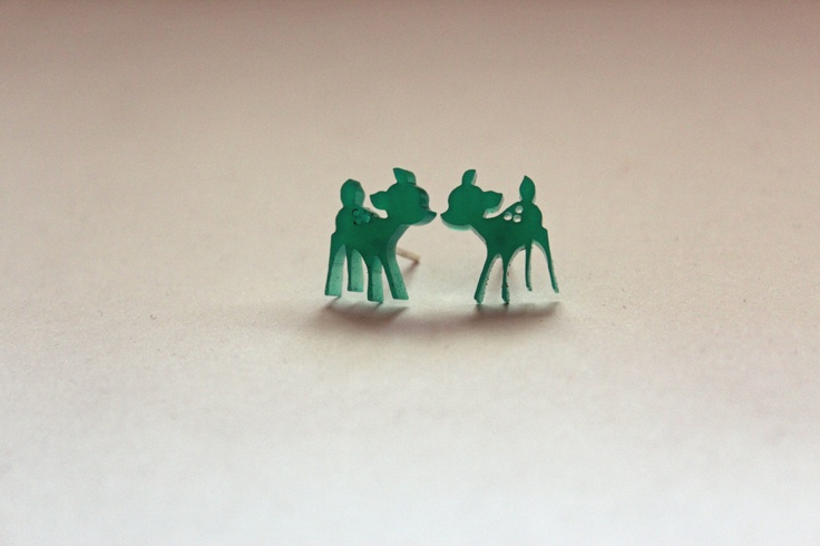Green Bambi Perspex Earrings.via Etsy.