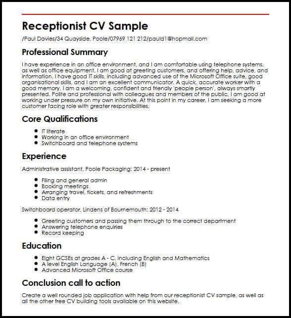 receptionist cv sample
