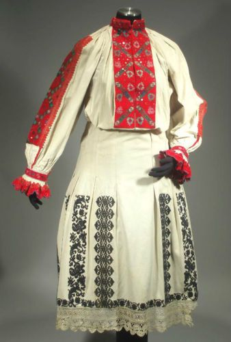 Antique Romanian Folk Costume Embroidered Dress Ethnic Peasant Blouse Skirt Lace | eBay