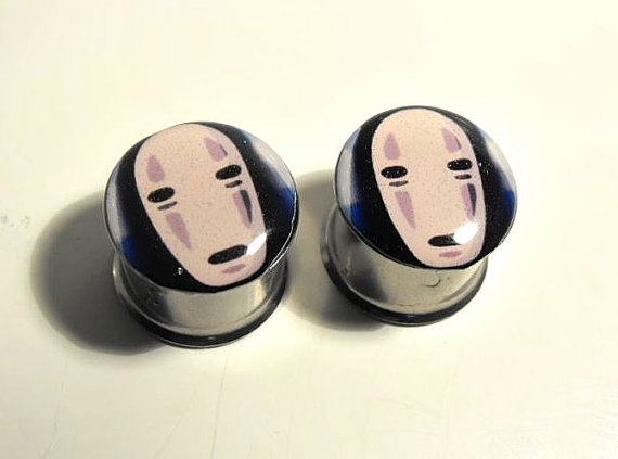 No Face Spirited Away picture plugs gauges by AreYouStuffed, $22.00
