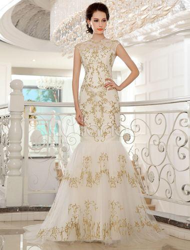 Vestido de novia de encaje de color marfil con escote redondo de estilo atractivo-No.1
