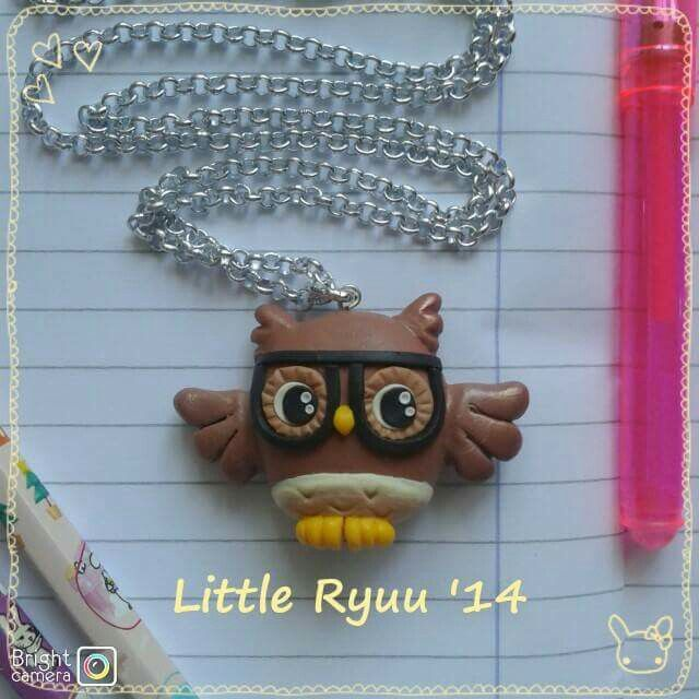 Nerdy owl fimo necklace