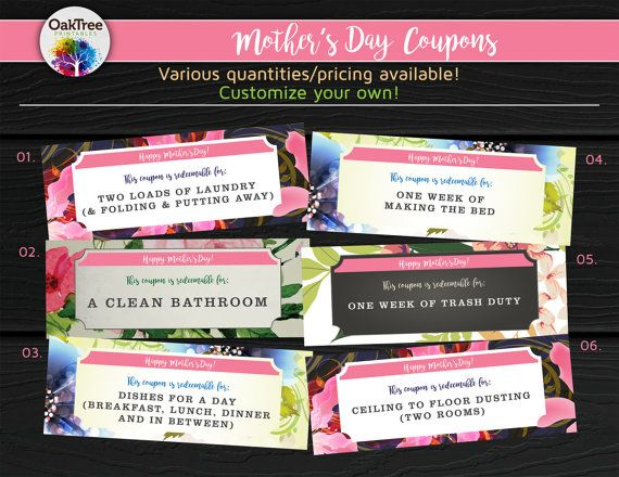 Mother's Day Coupons Coupon Book Gift Last by OakTreePrintables