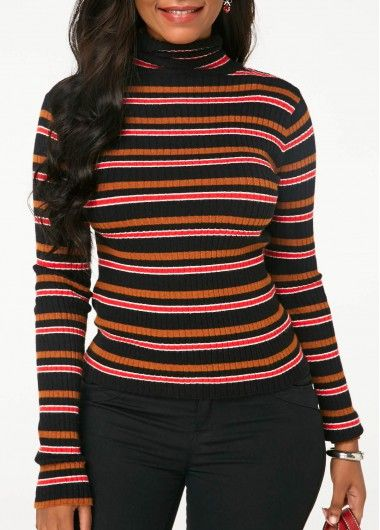 179922a2264 Multi Colored Striped High Neck Sweater Striped Long Sleeve High Neck  Knitting Sweater