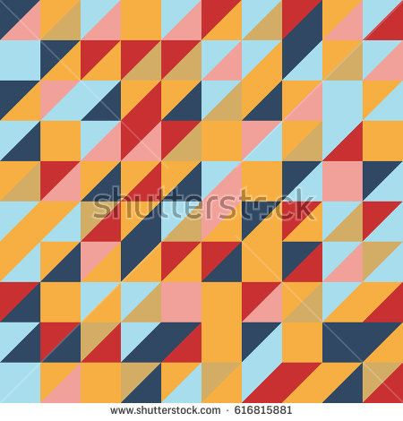 Vector red-blue-yellow abstract triangle seamless pattern texture background