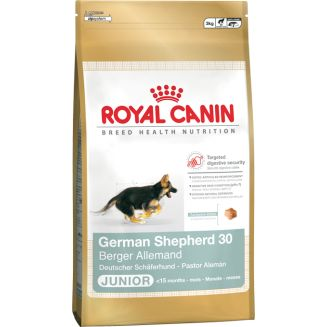 El pienso Royal Canin German Shepherd Junior 30 está indicado para perros cachorros de la raza Pastor Alemán. Esta dieta especial contiene los nutrientes adecuados a las necesidades nutricionales del Pastor Alemán.