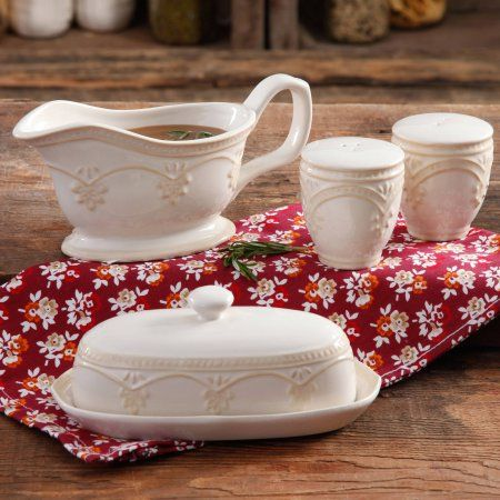 The Pioneer Woman Farmhouse Lace Butter Dish with Gravy Boat and Salt and Pepper Shakers - Walmart.com