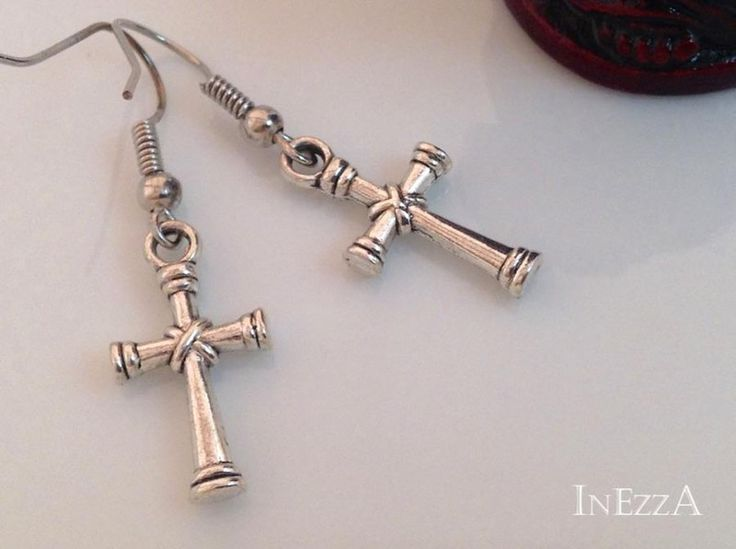 Ohrringe Kreuz Antiksilber von INEZZA  -  Geschenkestübchen auf DaWanda.com