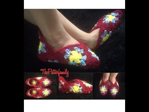 How to Crochet Granny Square Slippers Pattern #2│by ThePatterfamily - YouTube