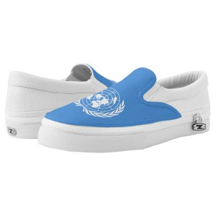 #UN Flag Slip-On Sneakers - #womens #shoes #womensshoes #custom #cool
