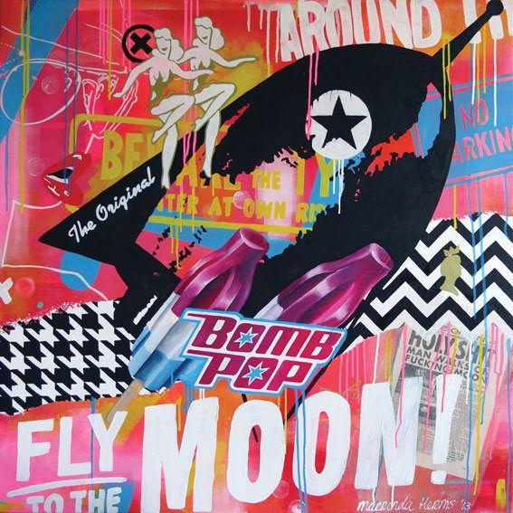 Origineel schilderij   Fly to the moon   100x100 cm   popart   grafische kunst   groot schilderij   kleurrijke kunst   groot schilderij door ArtByMarrinda op Etsy https://www.etsy.com/nl/listing/554128473/origineel-schilderij-fly-to-the-moon