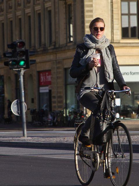 Coffee run; definitely a pleasure ride. Urban cycle chic! Bicycles Love Girls. http://bicycleslovegirls.tumblr.com/