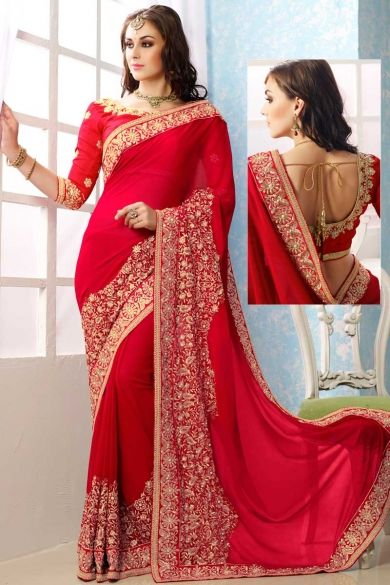 Red #ChiffonEmbroidered Festival Saree Sku Code:42-5225SA129996 US $ 83.00 http://www.sareez.com/product_info.php?cPath=94_95_100&products_id=164855 #PrettyRedSaree