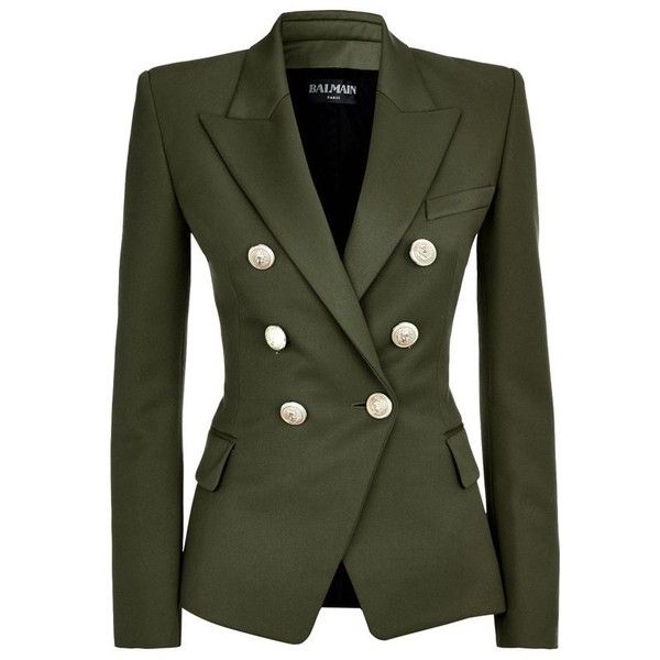 Balmain Wool Double-Breasted Jacket ($1,940) ❤ liked on Polyvore featuring outerwear, jackets, blazers, coats, balmain, khaki jacket, double breasted wool blazer, wool jacket, balmain blazer and balmain jacket