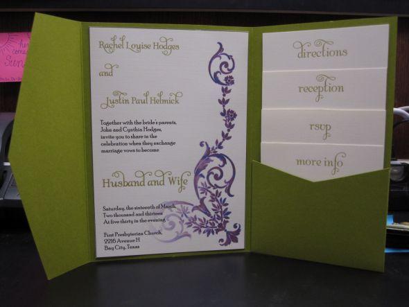 DIY Pocketfold Invite Prototype :  wedding romantic vintage garden green purple ivory diy invitations Weddinginvite1