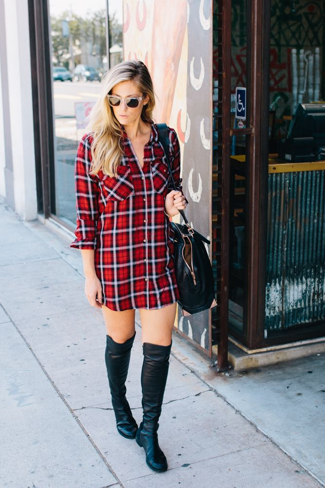The Plaid Shirt DressDress: H&M (also love this, this, and this) // Boots: Stuart Weitzman // Bag: Alexander Wang // Sunglasses: Le Specs // Bracelet: Giles & BrotherFashion By Devon Rachel