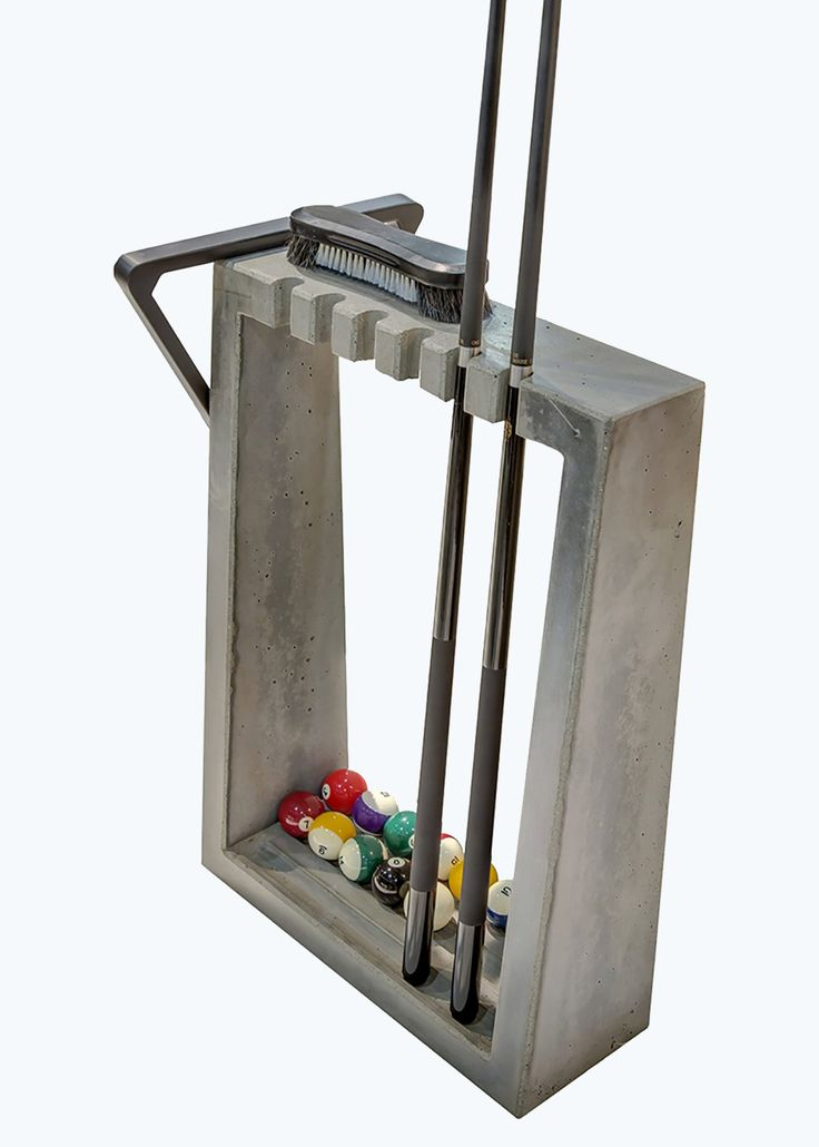 Floor standing billiards concrete cue rack to accompany the James De Wulf pool table. Shown in light grey. Basement Bar Designs, Home Bar Designs, Basement Ideas, Pool Table Room, Pool Tables, Game Tables, Billard Design, Billiards Bar, Snooker Cue