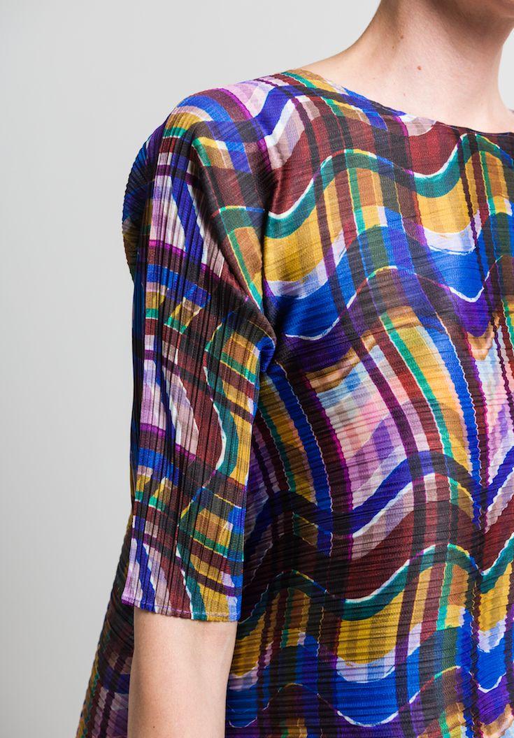 cd0b35221bb0 Issey Miyake Pleats Please Stratum Check Tunic in Multicolor