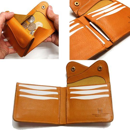 クランプ・Cramp 【イタリアンシュリンクレザー】Wフラップ二つ折り財布【Cr-158】の商品紹介ページです。イタリアンシュリンクレザーを使った二つ折り財布です。BLACK、CHOKO、REDなど全6色展開です。