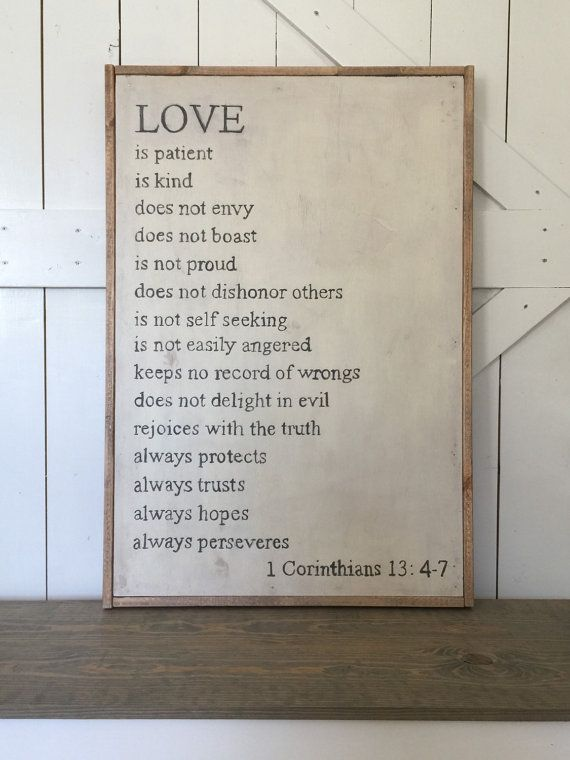 LOVE 1 Corinthians 13: 4-7 wooden sign by thewhitebarndoor on Etsy
