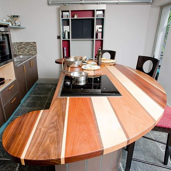 This striking Gallery worktop by Barnes of Ashburton combines maple, walnut, iroko and cherrywood for extra impact. Prices start from £1,200sq m, and kitchens start at around £25,000.