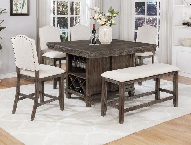Crown Mark 2772t 4854 6 Pc Regent Weathered Grey Finish Wood Counter Hei Counter Height Dining Table Set Counter Height Dining Sets Counter Height Dining Table